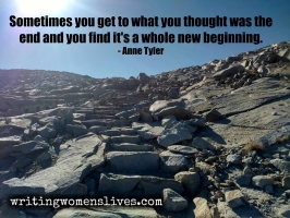 <h5>Sometimes you get to what you thought was the end and you find it's a whole new beginning. —Anne Tyler</h5><p>WritingWomensLives.com #writingclass #womenswriting #womensmemoir																																																																																																																																																																																																																																																																																																																																																																																																																																																																																																																																																																																																																																																																						</p>