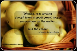 <h5>Writing, real writing, should leave a small sweet bruise somewhere on the writer... and the reader. —Clarissa Pinkola Estés</h5><p>WritingWomensLives.com #writingclass #womenswriting #womensmemoir																																																																																																																																																																																																																																																																																																																																																																																																																																																																																																																														</p>