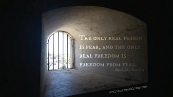 <h5>The only real prison is fear, and the only real freedom is freedom from fear. —Aung San Suu Kyi</h5><p>WritingWomensLives.com #writingclass #womenswriting #womensmemoir																																																																																																																																																																																																																																																																																																																																																																																																																																																																																																																														</p>