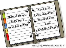 <h5>Melissa Schuppe</h5><p>There us always a little more room for writing. If one just takes the effort to scoot over a bit.																																																																																																						</p>