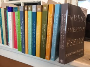 Best American Essays series of books displayed on a shelf